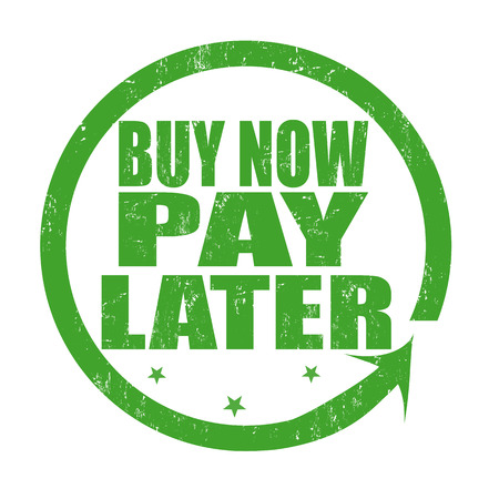 later: Buy now pay later grunge rubber stamp on white, vector illustration Illustration