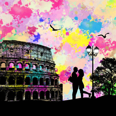colosseum: Vintage view of Rome on the grunge poster with colored splash and couple in love, vector illustration
