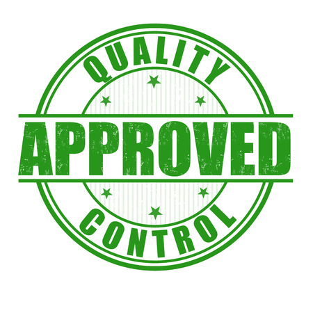 Kwaliteitscontrole goedgekeurd grunge rubber stempel op een witte, vector illustratie