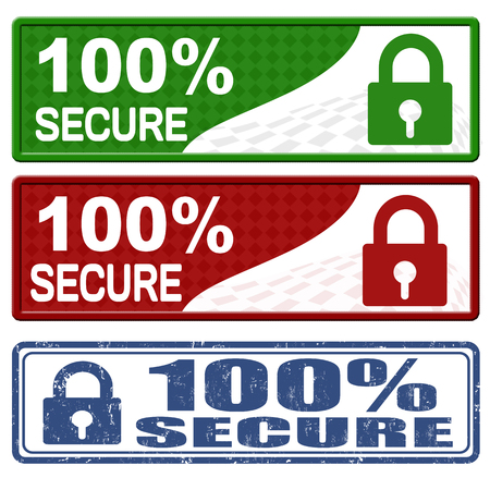 secure payment: 100 percent secure icons and grunge stamp on white background, vector illustration Stock Photo