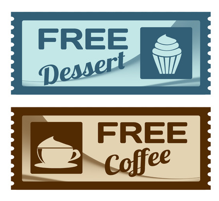 free vintage background: Free dessert and coffee coupons on white background, vector illustration
