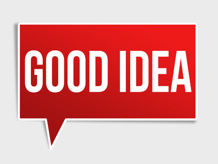 goed idee: Goed idee rode 3d realistische papier tekstballon op wit wordt geïsoleerd