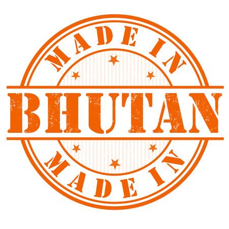 bhutan: Gemaakt in Bhutan grunge rubber stempel op een witte, vector illustratie