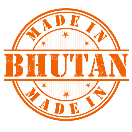 manufactured: Made in Bhutan grunge rubber stamp on white, vector illustration