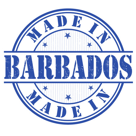manufactured: Made in Barbados grunge rubber stamp on white, vector illustration