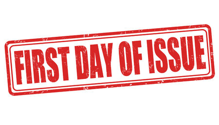 first day: First day of issue grunge rubber stamp on white, vector illustration