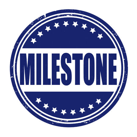 milestone: Milestone grunge rubber stamp on white, vector illustration