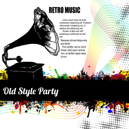 music banner: Old Style Party poster on retro style, vector illustration