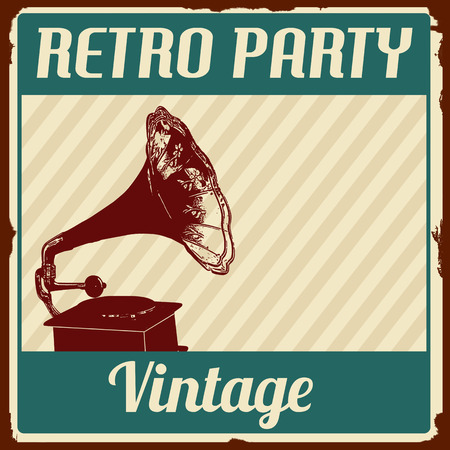 Vintage Retro Party poster on retro style, vector illustration
