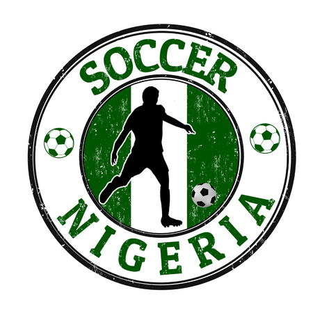 nigeria: Grunge stamp with soccer player and name Nigeria written inside, vector illustration