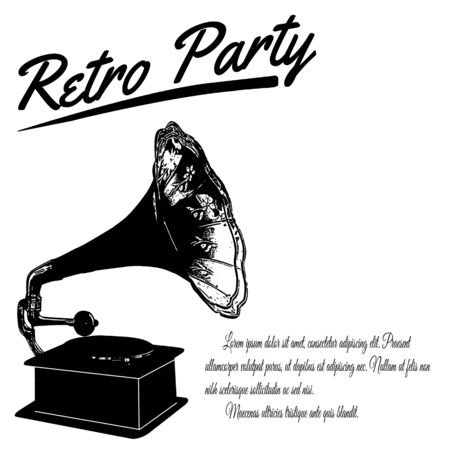 gramophone: Retro Party poster on retro style, vector illustration