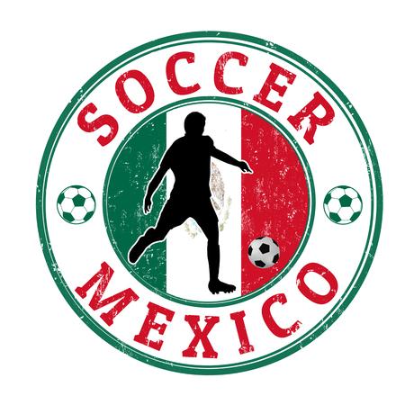 campeonato de futbol: Grunge sello con el jugador de fútbol y el nombre de México escrito en su interior, ilustración vectorial Vectores