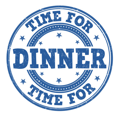 Time for dinner grunge rubber stamp on white, vector illustration Vector