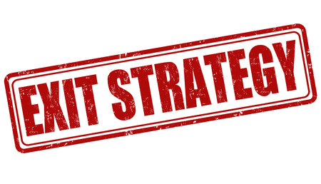 failed strategy: Exit strategy grunge rubber stamp on white, vector illustration