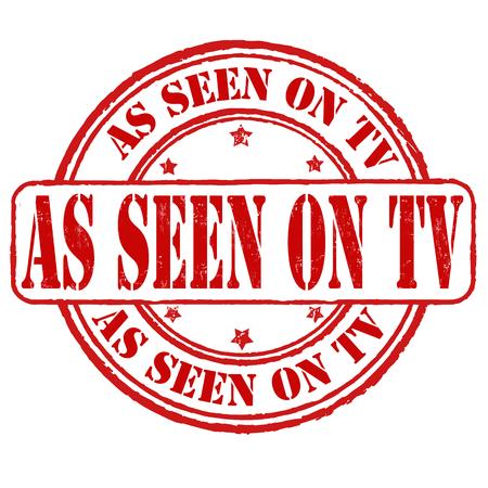 Comme on le voit sur le timbre en caoutchouc tv grunge sur fond blanc, illustration vectorielle