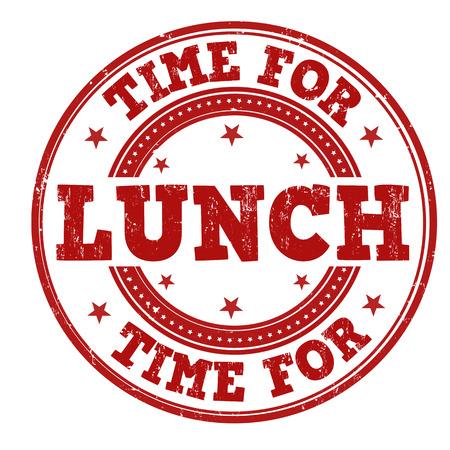 Tiempo para el almuerzo grunge sello de goma en blanco, ilustración vectorial