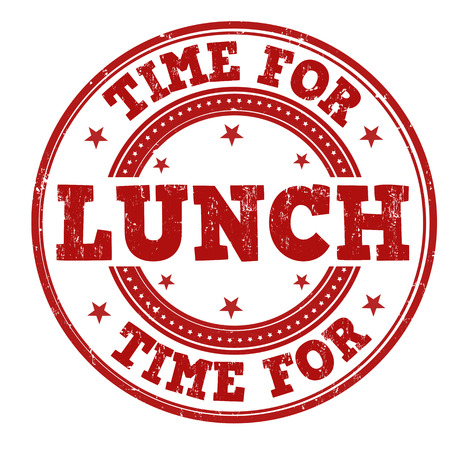 lunchen: Tijd voor de lunch grunge rubber stempel op een witte, vector illustratie Stock Illustratie