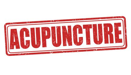 stimulation: Acupuncture grunge rubber stamp on white, vector illustration Illustration