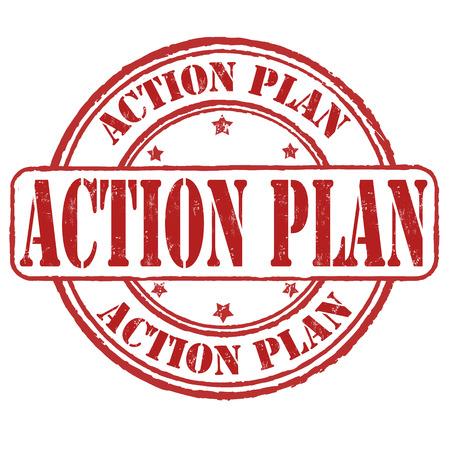 Action plan grunge rubber stamp on white, vector illustration