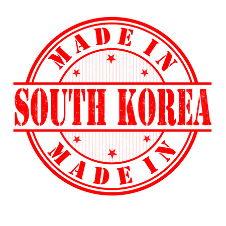 Made in South Korea grunge rubber stamp on white, vector illustration Vector