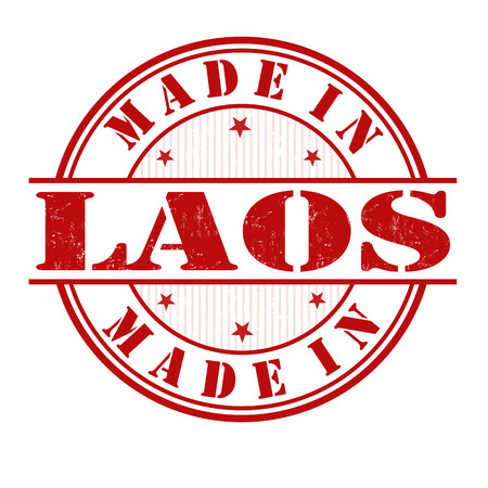 export import: Made in Laos grunge rubber stamp on white, vector illustration