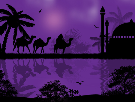 Abstract colorful background with bedouin riding camel during the beautiful night , vector illustration Vector