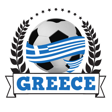 Soccer ball wrapped in ribbon with greece flag and laurel on white, vector illustration Vector