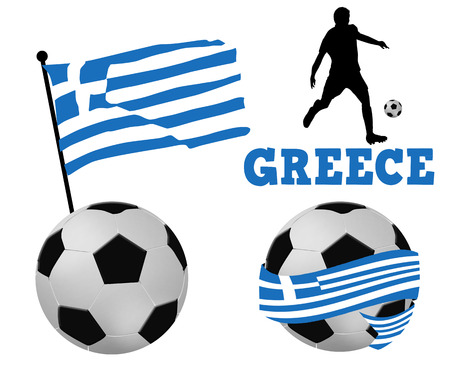 greece flag: Soccer balls wrapped in ribbon with greece flag and player silhouette on white, vector illustration