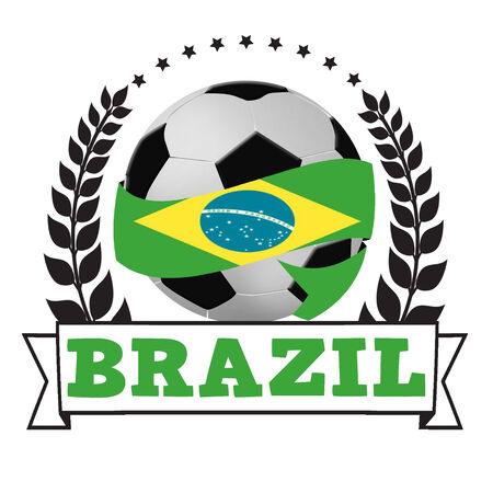 Soccer ball wrapped in ribbon with brazil flag and laurel on white, vector illustration Vector