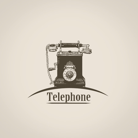 old telephone: Telephone in vintage style poster with old phone shape icon, vector illustration