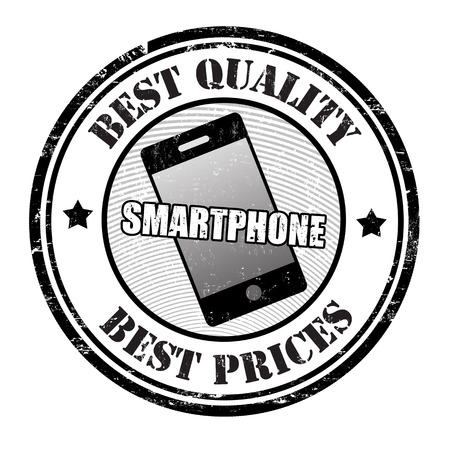 Best quality and best prices smartphone grunge rubber stamp on white, vector illustration Vector