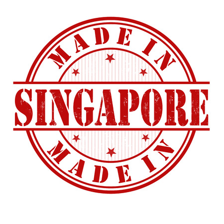 manufactured: Made in Singapore  grunge rubber stamp on white, vector illustration Illustration