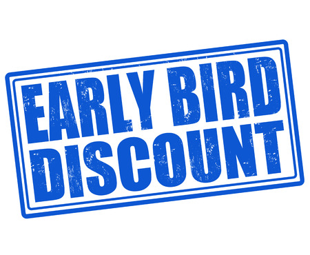 bird icon: Early bird discount grunge rubber stamp on white background, vector illustration
