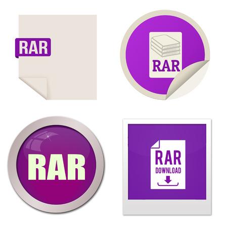 rar: Rar icon set on white background, vector illustration