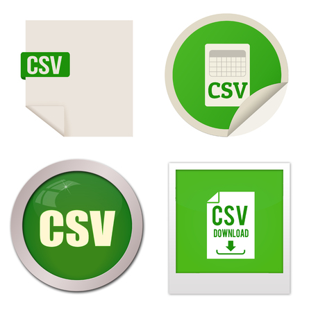 csv: Csv icon set on white background, vector illustration