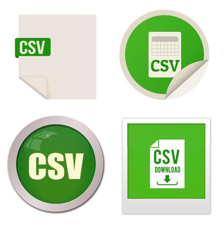 extensible: Csv icon set on white background, vector illustration