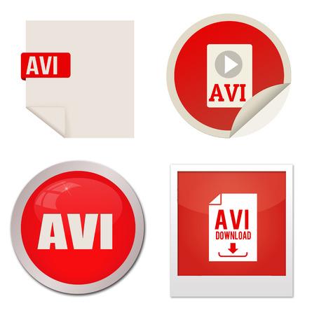avi: Avi icon set on white background, vector illustration Illustration