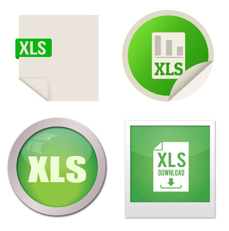 Xls icon set on white background, vector illustration Vector