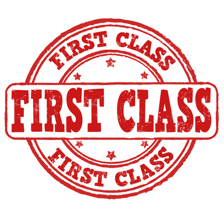 first class: First class grunge rubber stamp on white, vector illustration Illustration