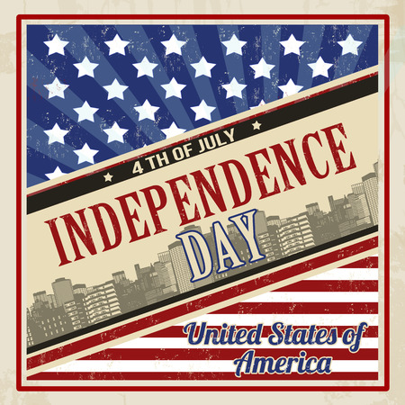 Vintage grungy poster in retro style for American Independence Day, vector illustration Vector
