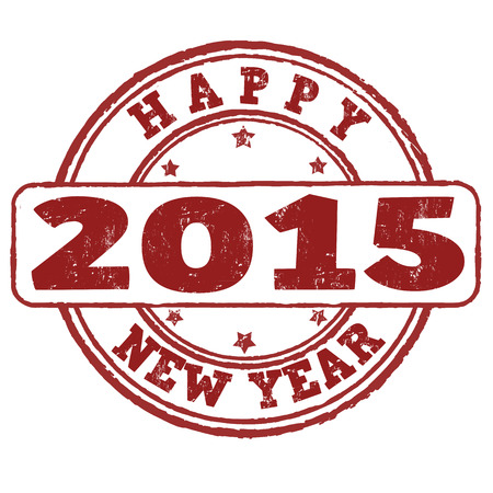 2015 happy new year grunge rubber stamp on white, vector illustration Vector