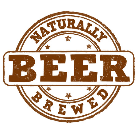naturally: Naturally brewed beer grunge rubber stamp on white, vector illustration