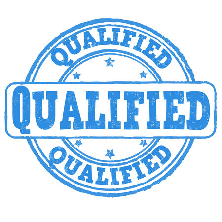qualified: Qualified grunge rubber stamp on white, vector illustration