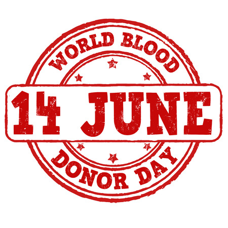 World blood donor day grunge rubber stamp on white, vector illustration