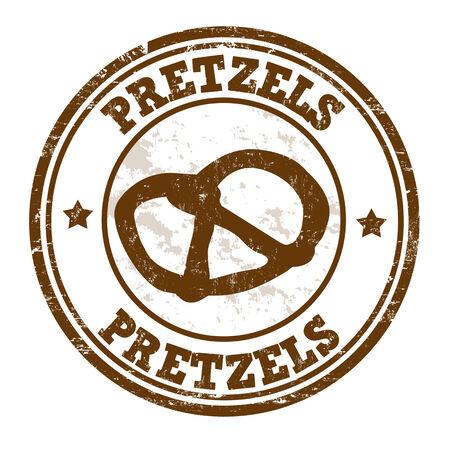 pretzels: Pretzels grunge rubber stamp on white, vector illustration