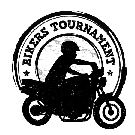 Bikers tournament grunge rubber stamp on white, vector illustration Vector