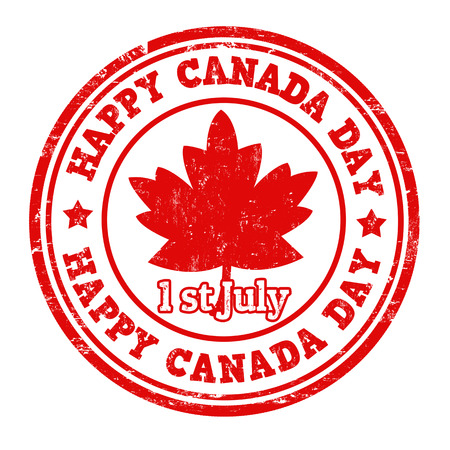 canada stamp: Happy Canada day grunge rubber stamp on white, vector illustration Illustration