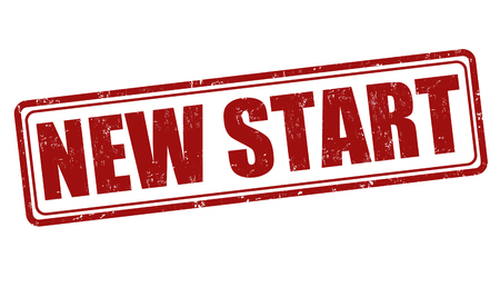 new start: New start grunge rubber stamp on white, vector illustration