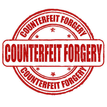 imposture: Counterfeit forgery grunge rubber stamp on white, vector illustration