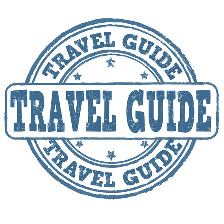 travel guide: Travel guide grunge rubber stamp on white, vector illustration